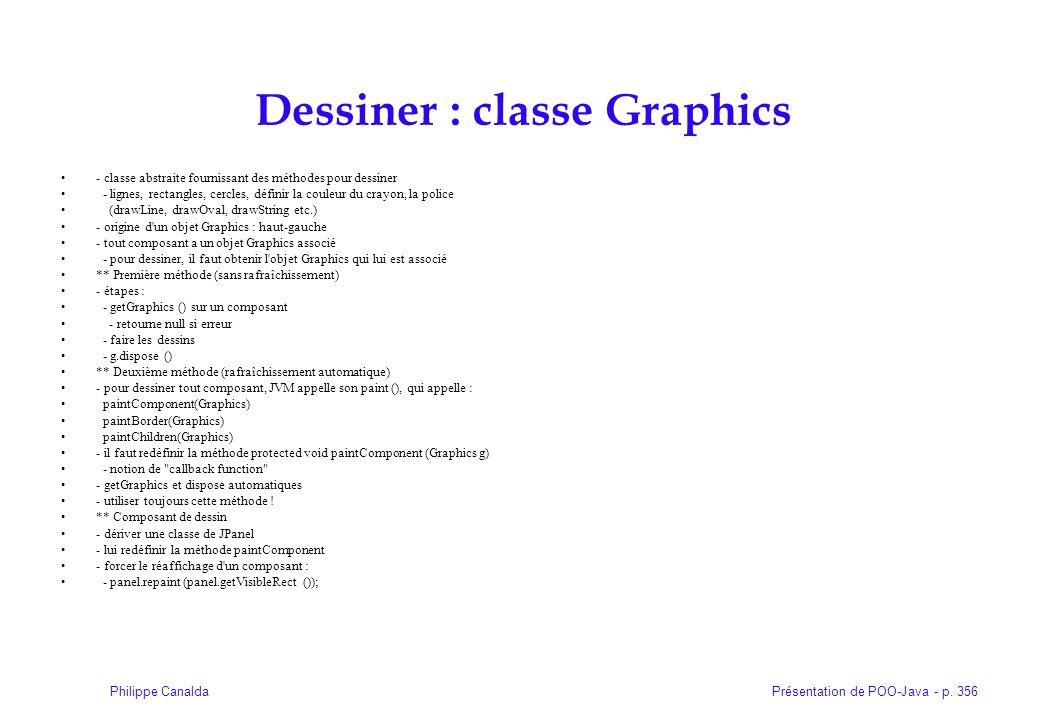 Présentation de POO-Java - p. 356Philippe Canalda Dessiner : classe Graphics - classe abstraite fournissant des méthodes pour dessiner - lignes, recta