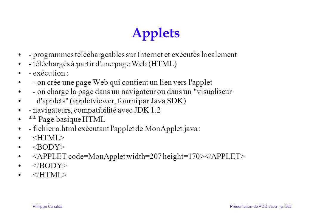 Présentation de POO-Java - p. 362Philippe Canalda Applets - programmes téléchargeables sur Internet et exécutés localement - téléchargés à partir d'un