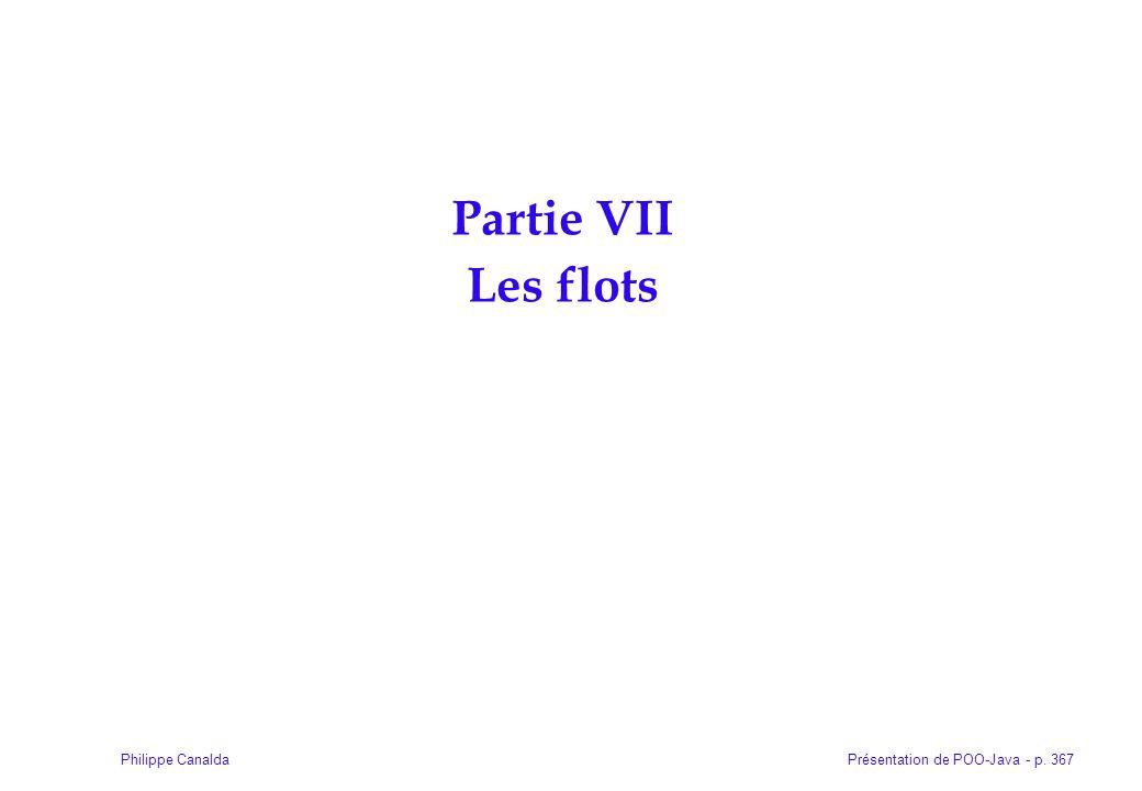 Présentation de POO-Java - p. 367Philippe Canalda Partie VII Les flots