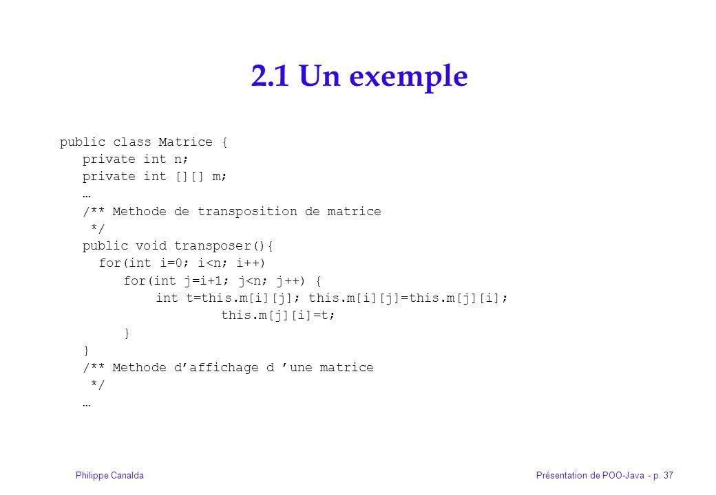 Présentation de POO-Java - p. 37Philippe Canalda 2.1 Un exemple public class Matrice { private int n; private int [][] m; … /** Methode de transpositi