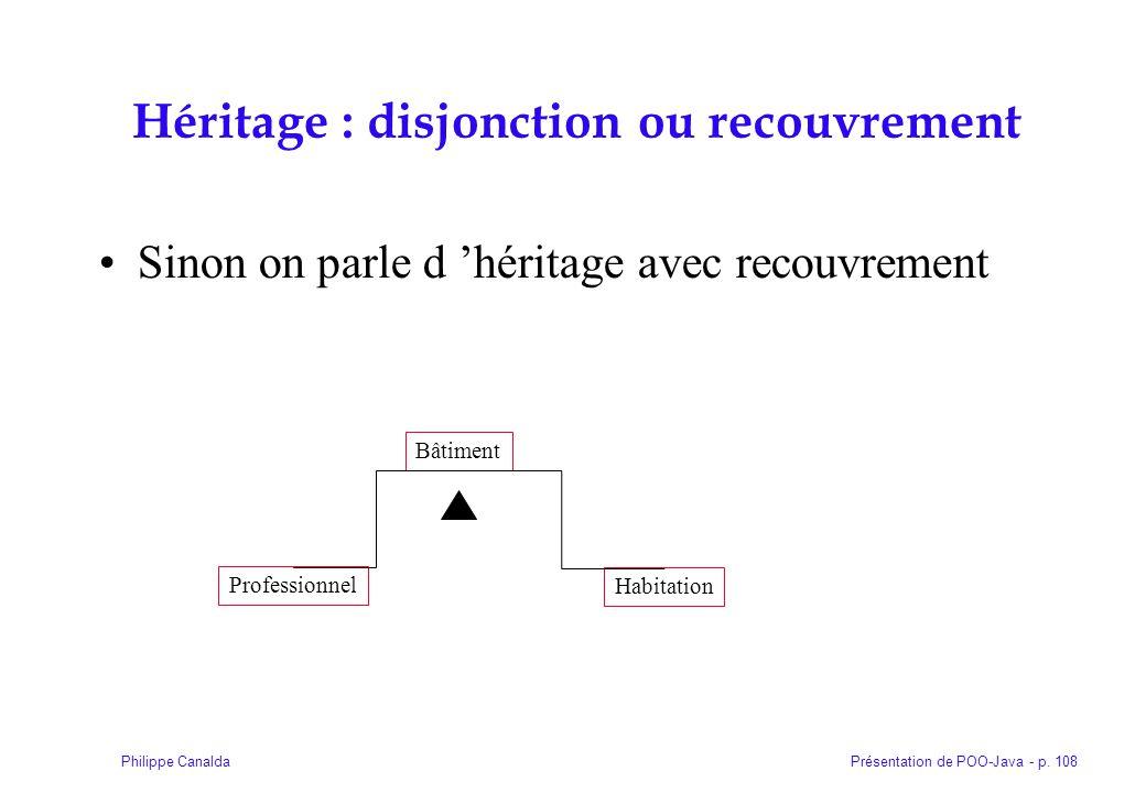 Présentation de POO-Java - p. 108Philippe Canalda Héritage : disjonction ou recouvrement Sinon on parle d héritage avec recouvrement Bâtiment Professi