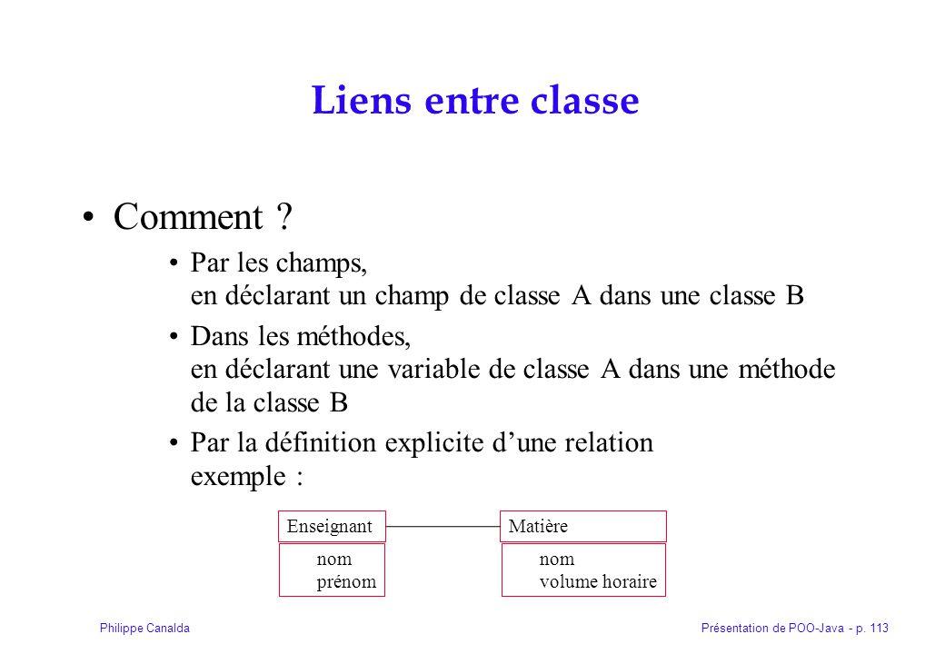 Présentation de POO-Java - p. 113Philippe Canalda Liens entre classe Comment ? Par les champs, en déclarant un champ de classe A dans une classe B Dan