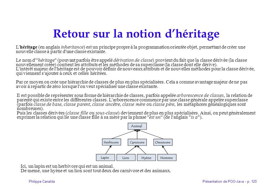 Présentation de POO-Java - p. 125Philippe Canalda Retour sur la notion dhéritage L'héritage (en anglais inheritance) est un principe propre à la progr