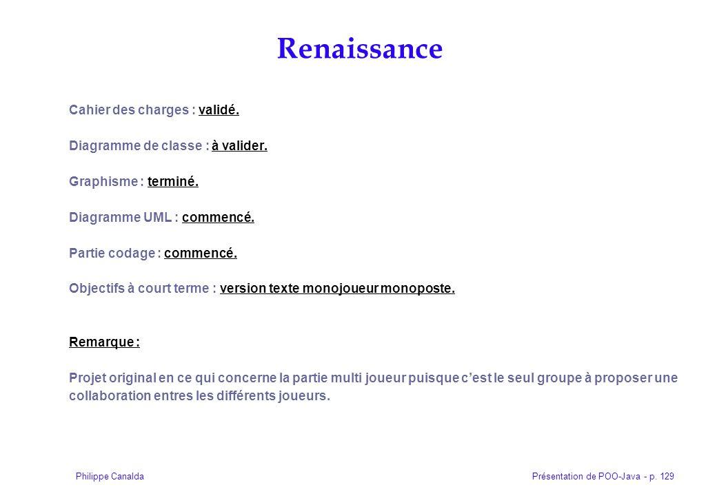 Présentation de POO-Java - p. 129Philippe Canalda Cahier des charges : validé. Diagramme de classe : à valider. Graphisme : terminé. Diagramme UML : c