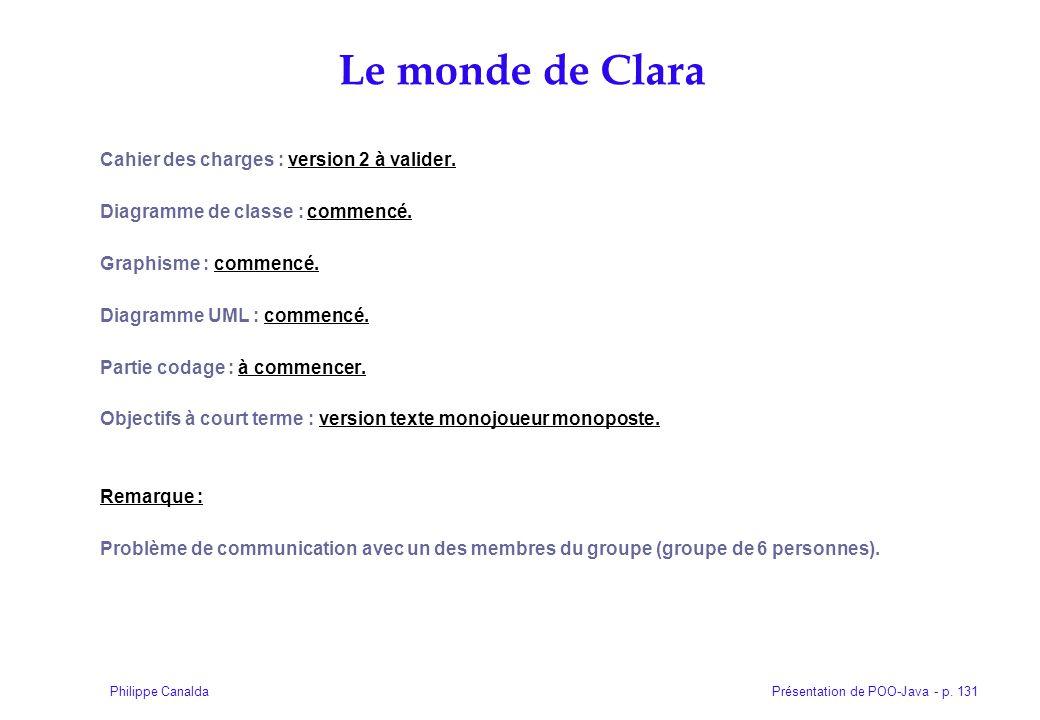 Présentation de POO-Java - p. 131Philippe Canalda Cahier des charges : version 2 à valider. Diagramme de classe : commencé. Graphisme : commencé. Diag