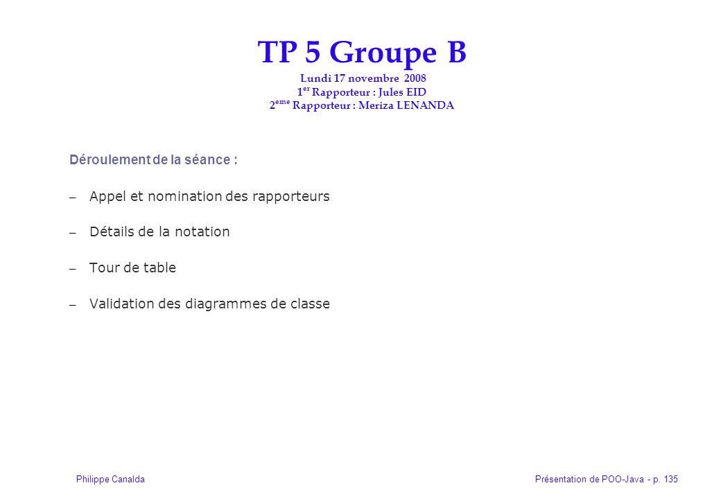 Présentation de POO-Java - p. 135Philippe Canalda Déroulement de la séance : – Appel et nomination des rapporteurs – Détails de la notation – Tour de