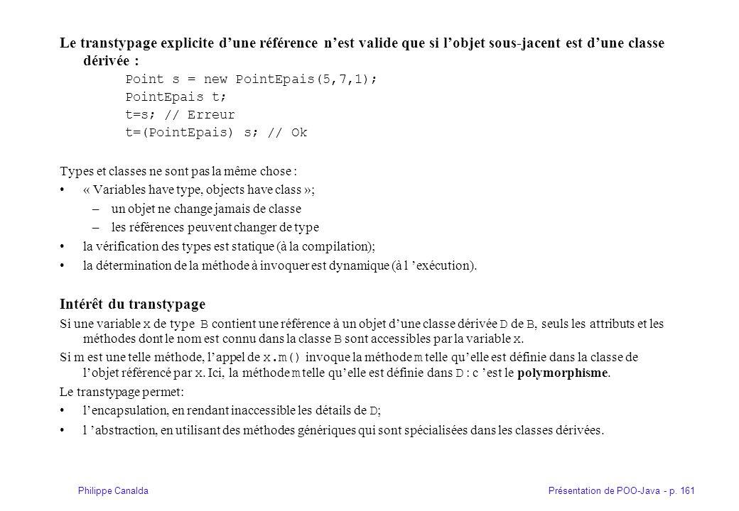 Présentation de POO-Java - p. 161Philippe Canalda Le transtypage explicite dune référence nest valide que si lobjet sous-jacent est dune classe dérivé