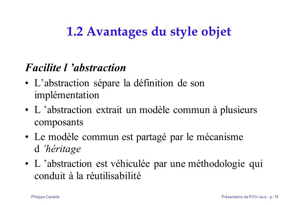 Présentation de POO-Java - p. 19Philippe Canalda 1.2 Avantages du style objet Facilite l abstraction Labstraction sépare la définition de son implémen