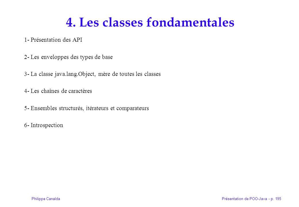 Présentation de POO-Java - p. 195Philippe Canalda 4. Les classes fondamentales 1- Présentation des API 2- Les enveloppes des types de base 3- La class