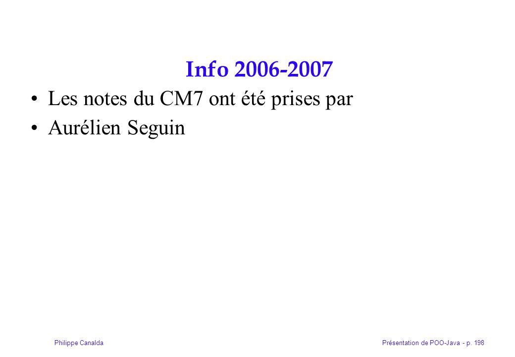 Présentation de POO-Java - p. 198Philippe Canalda Info 2006-2007 Les notes du CM7 ont été prises par Aurélien Seguin
