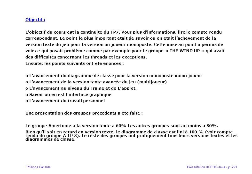 Présentation de POO-Java - p. 221Philippe Canalda Objectif : Lobjectif du cours est la continuité du TP7. Pour plus dinformations, lire le compte rend