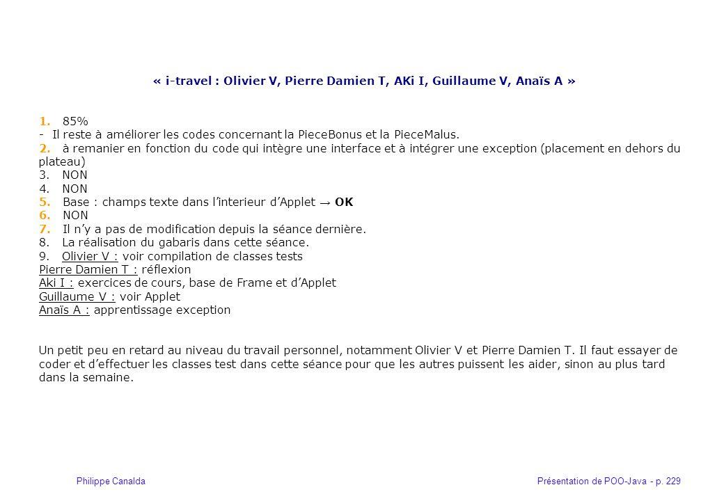 Présentation de POO-Java - p. 229Philippe Canalda « i-travel : Olivier V, Pierre Damien T, AKi I, Guillaume V, Anaïs A » 1. 85% - Il reste à améliorer