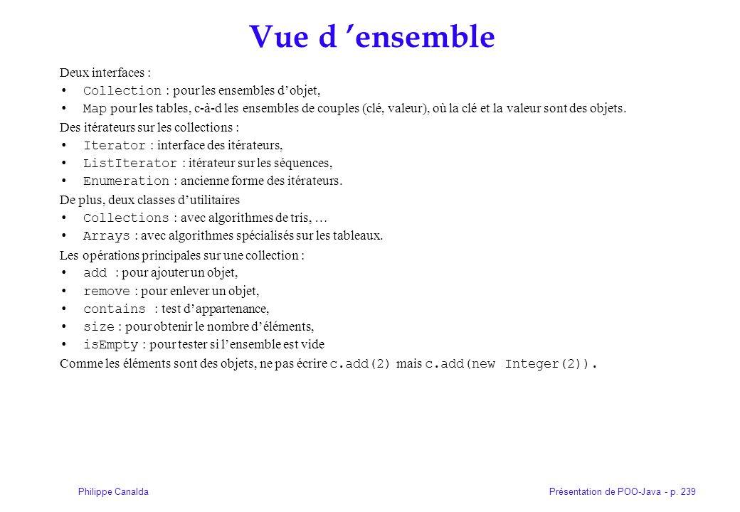 Présentation de POO-Java - p. 239Philippe Canalda Vue d ensemble Deux interfaces : Collection : pour les ensembles dobjet, Map pour les tables, c-à-d