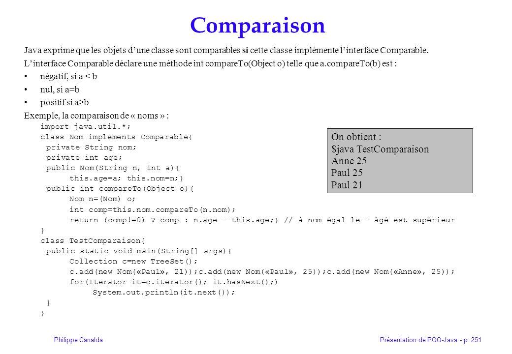 Présentation de POO-Java - p. 251Philippe Canalda Comparaison Java exprime que les objets dune classe sont comparables si cette classe implémente lint