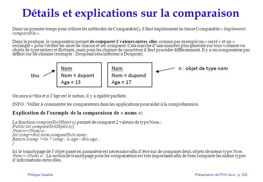 Présentation de POO-Java - p. 252Philippe Canalda Détails et explications sur la comparaison Dans un premier temps pour utiliser les méthodes de Compa
