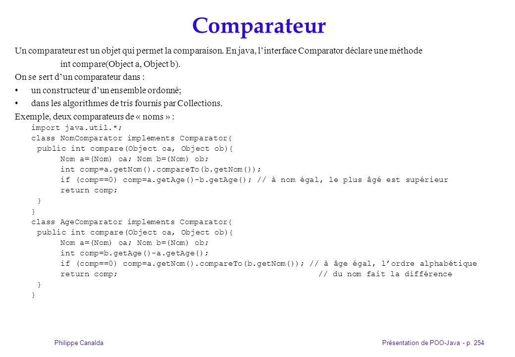 Présentation de POO-Java - p. 254Philippe Canalda Comparateur Un comparateur est un objet qui permet la comparaison. En java, linterface Comparator dé