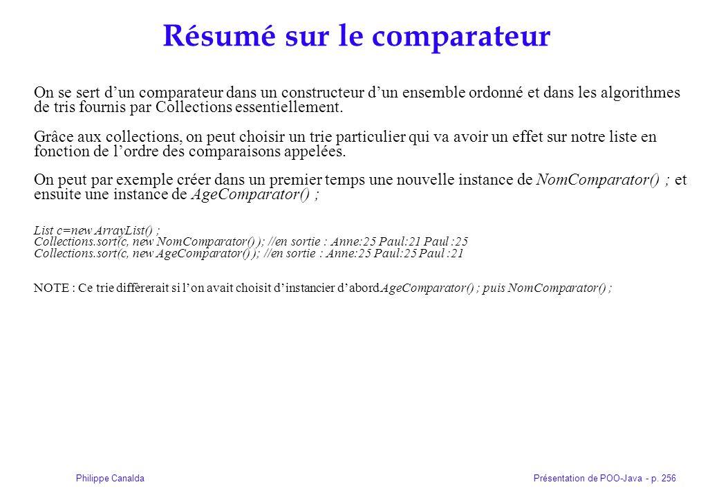 Présentation de POO-Java - p. 256Philippe Canalda Résumé sur le comparateur On se sert dun comparateur dans un constructeur dun ensemble ordonné et da