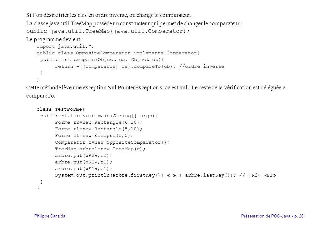 Présentation de POO-Java - p. 261Philippe Canalda Si lon désire trier les clés en ordre inverse, on change le comparateur. La classe java.util.TreeMap