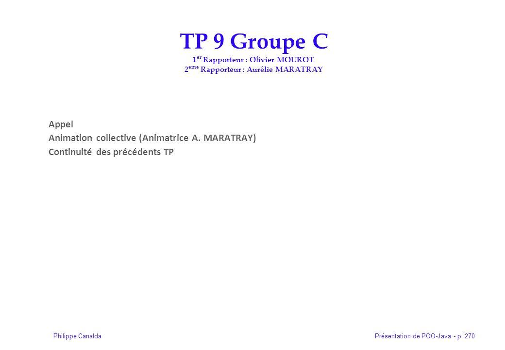 Présentation de POO-Java - p. 270Philippe Canalda Appel Animation collective (Animatrice A. MARATRAY) Continuité des précédents TP TP 9 Groupe C 1 er