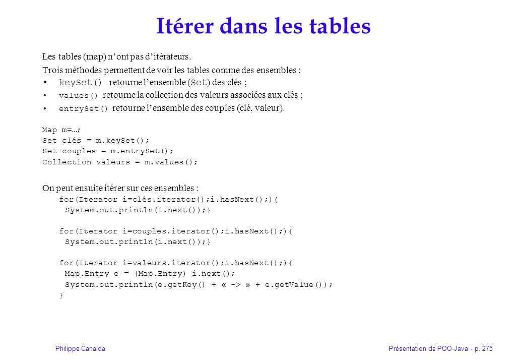 Présentation de POO-Java - p. 275Philippe Canalda Itérer dans les tables Les tables (map) nont pas ditérateurs. Trois méthodes permettent de voir les