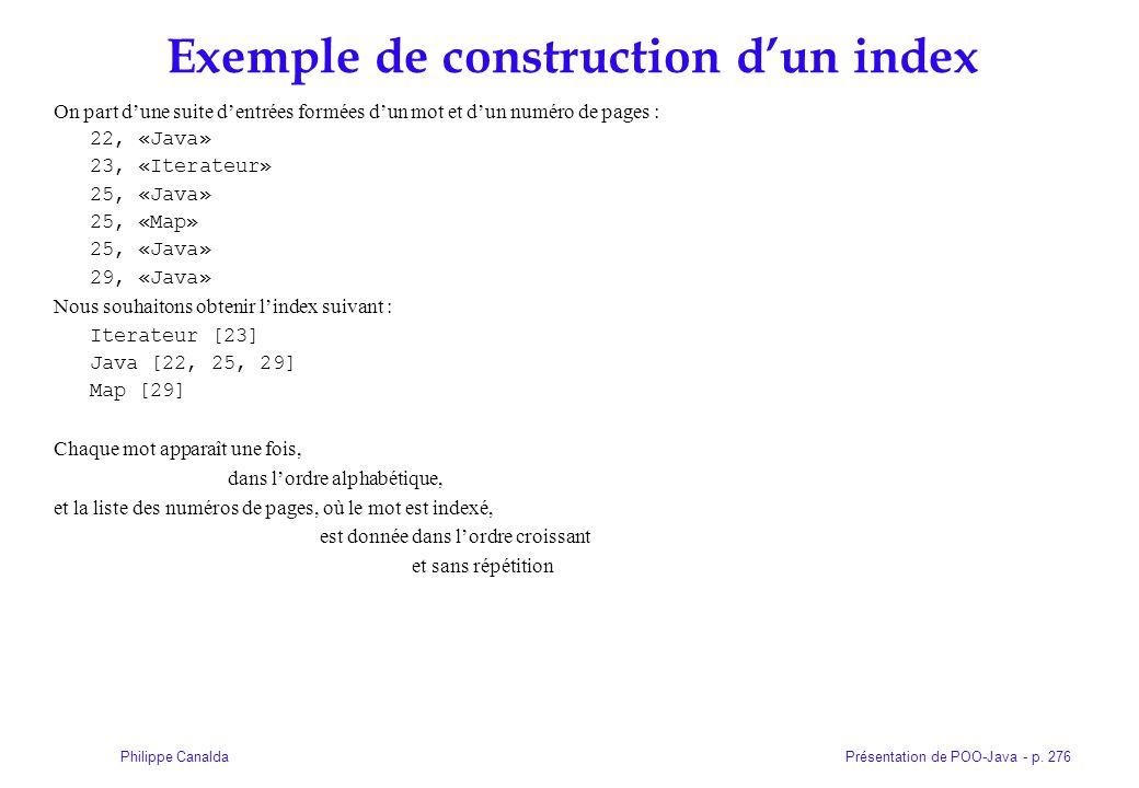 Présentation de POO-Java - p. 276Philippe Canalda Exemple de construction dun index On part dune suite dentrées formées dun mot et dun numéro de pages