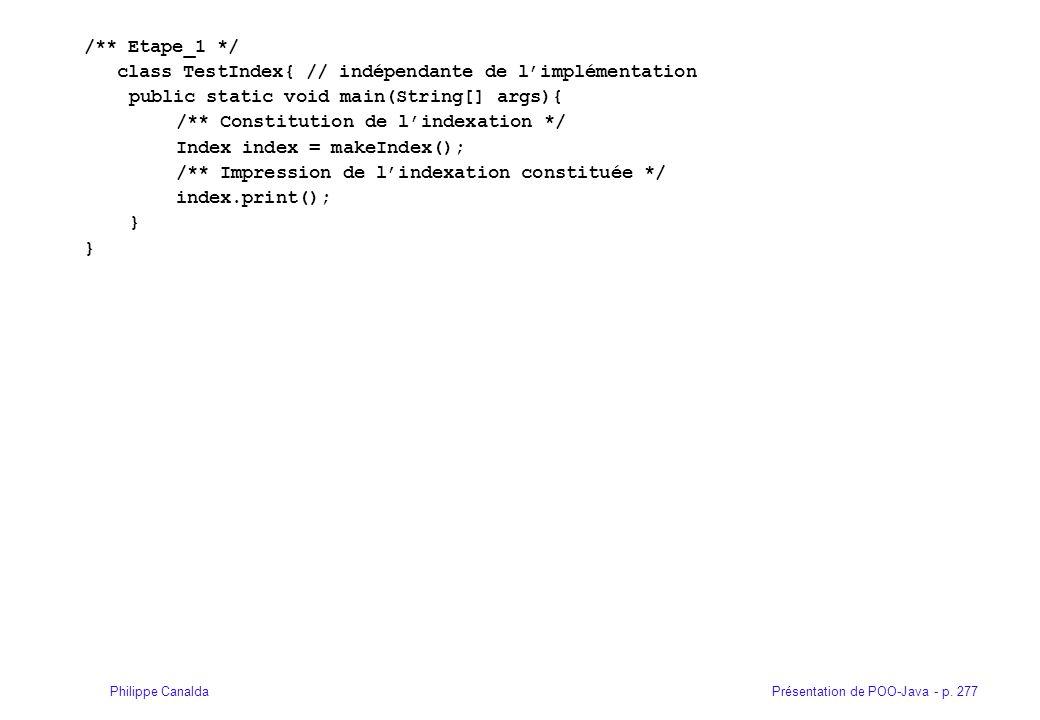 Présentation de POO-Java - p. 277Philippe Canalda /** Etape_1 */ class TestIndex{ // indépendante de limplémentation public static void main(String[]
