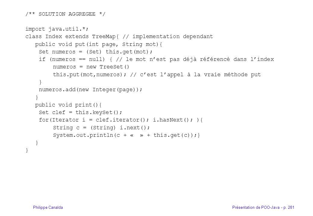 Présentation de POO-Java - p. 281Philippe Canalda /** SOLUTION AGGREGEE */ import java.util.*; class Index extends TreeMap{ // implementation dependan
