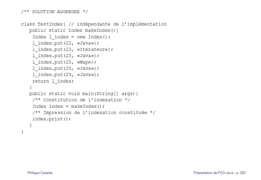 Présentation de POO-Java - p. 282Philippe Canalda /** SOLUTION AGGREGEE */ class TestIndex{ // indépendante de limplémentation public static Index mak