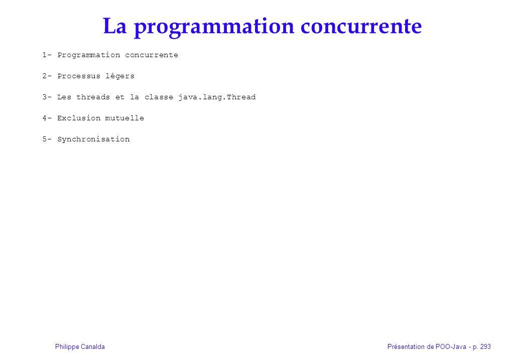 Présentation de POO-Java - p. 293Philippe Canalda La programmation concurrente 1- Programmation concurrente 2- Processus légers 3- Les threads et la c