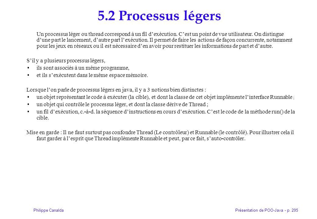 Présentation de POO-Java - p. 295Philippe Canalda 5.2 Processus légers Un processus léger ou thread correspond à un fil dexécution. Cest un point de v
