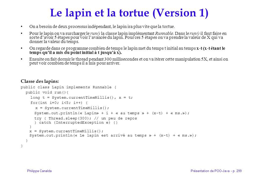 Présentation de POO-Java - p. 299Philippe Canalda Le lapin et la tortue (Version 1) On a besoin de deux processus indépendant, le lapin ira plus vite
