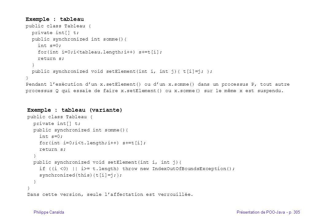 Présentation de POO-Java - p. 305Philippe Canalda Exemple : tableau public class Tableau { private int[] t; public synchronized int somme(){ int s=0;