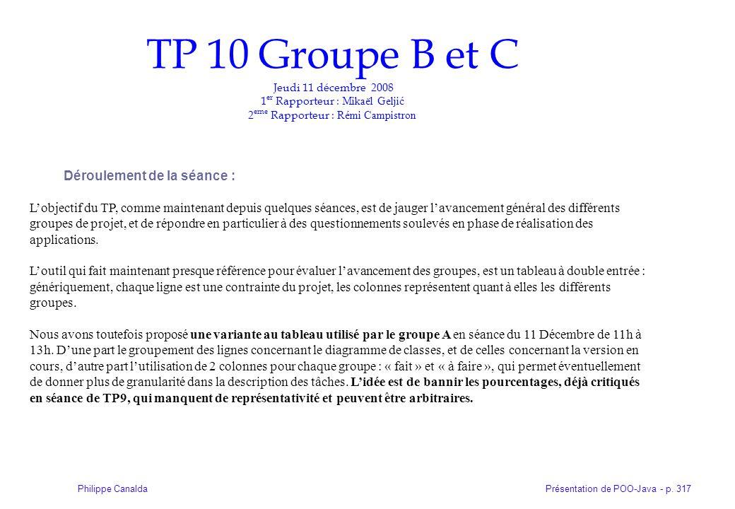 Présentation de POO-Java - p. 317Philippe Canalda TP 10 Groupe B et C Jeudi 11 décembre 2008 1 er Rapporteur : Mikaël Geljić 2 eme Rapporteur : Rémi C