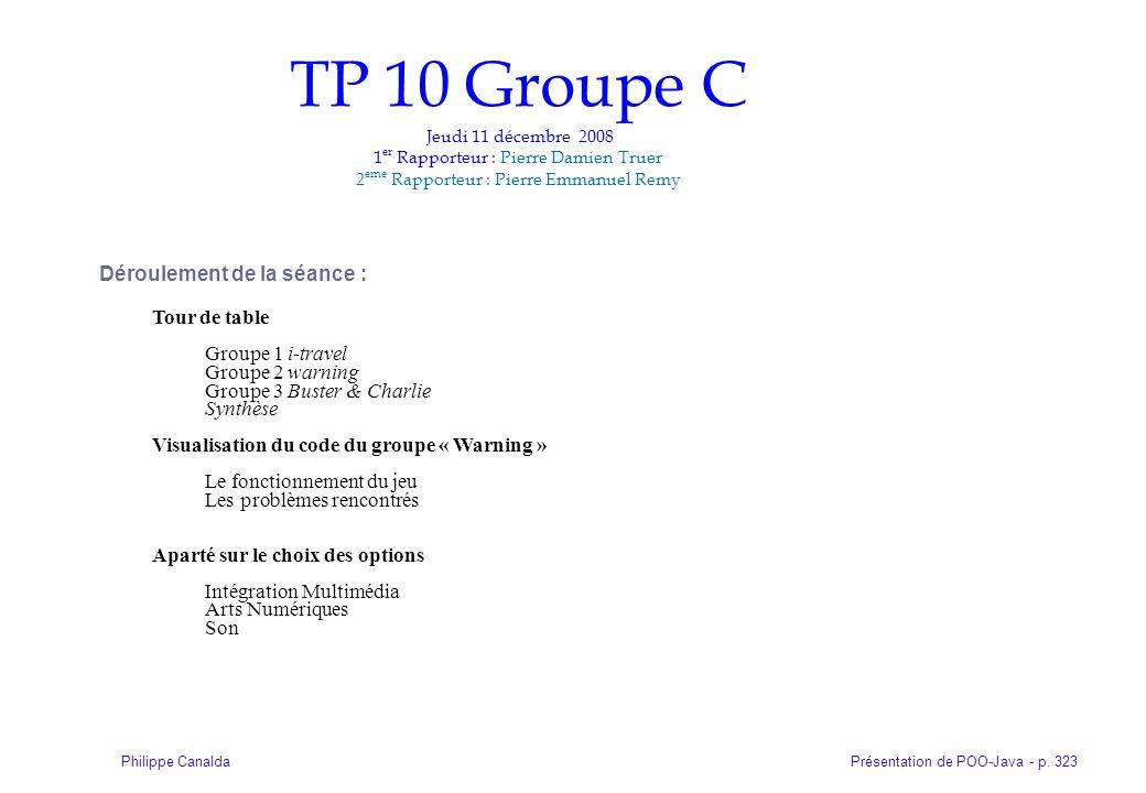 Présentation de POO-Java - p. 323Philippe Canalda TP 10 Groupe C Jeudi 11 décembre 2008 1 er Rapporteur : Pierre Damien Truer 2 eme Rapporteur : Pierr