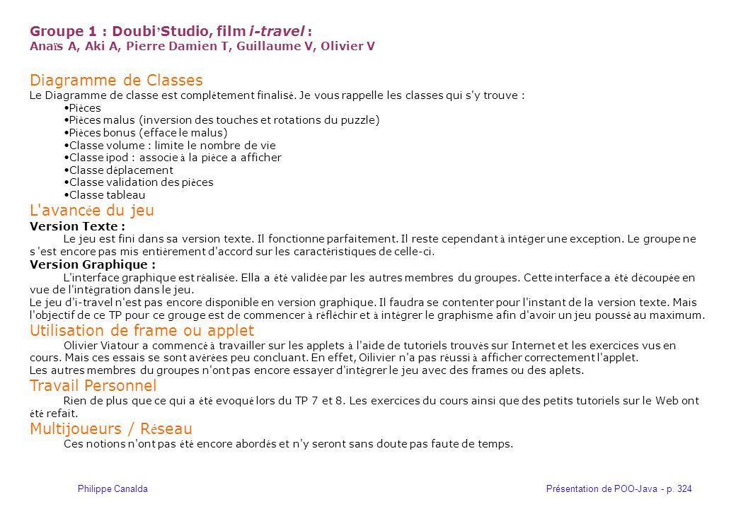 Présentation de POO-Java - p. 324Philippe Canalda Groupe 1 : Doubi Studio, film i-travel : Ana ï s A, Aki A, Pierre Damien T, Guillaume V, Olivier V D