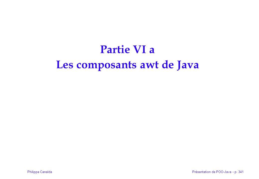 Présentation de POO-Java - p. 341Philippe Canalda Partie VI a Les composants awt de Java