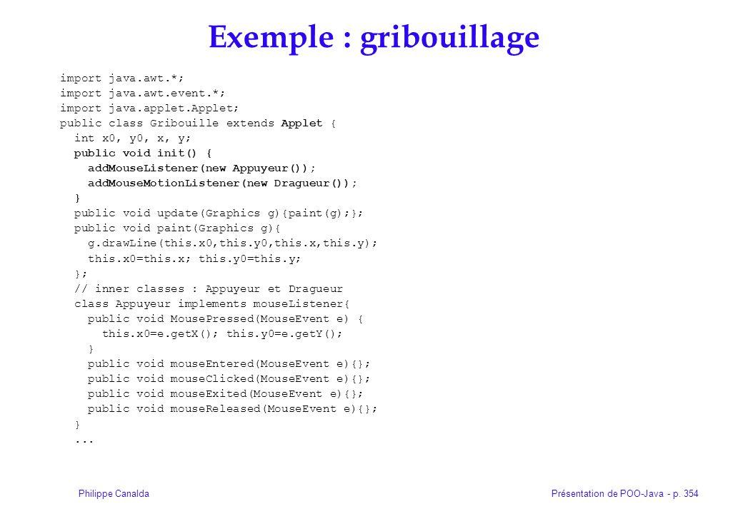 Présentation de POO-Java - p. 354Philippe Canalda Exemple : gribouillage import java.awt.*; import java.awt.event.*; import java.applet.Applet; public