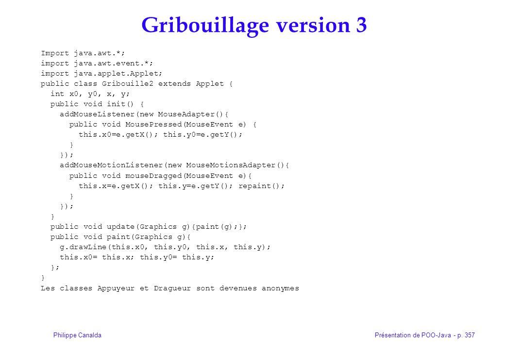 Présentation de POO-Java - p. 357Philippe Canalda Gribouillage version 3 Import java.awt.*; import java.awt.event.*; import java.applet.Applet; public