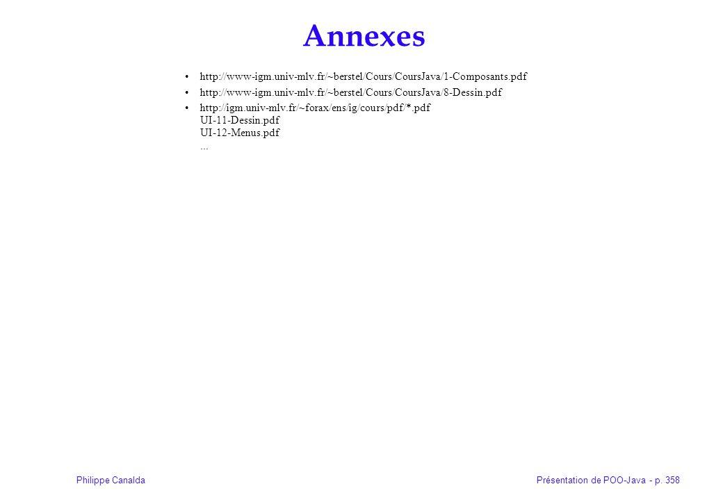 Présentation de POO-Java - p. 358Philippe Canalda Annexes http://www-igm.univ-mlv.fr/~berstel/Cours/CoursJava/1-Composants.pdf http://www-igm.univ-mlv