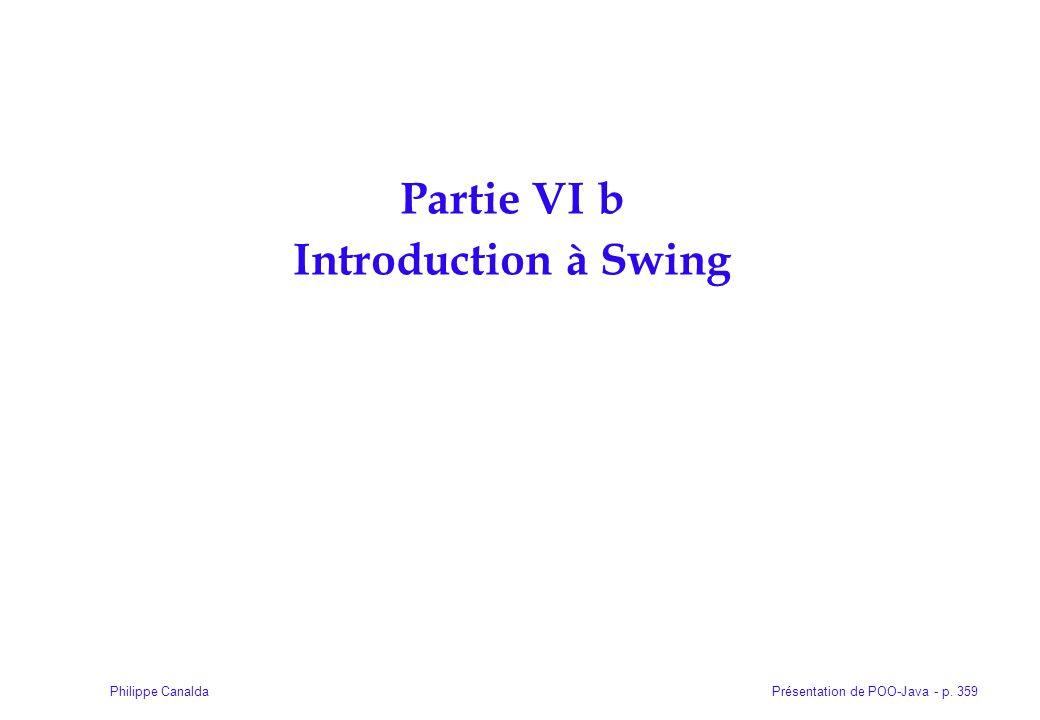 Présentation de POO-Java - p. 359Philippe Canalda Partie VI b Introduction à Swing