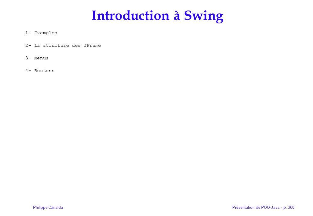 Présentation de POO-Java - p. 360Philippe Canalda Introduction à Swing 1- Exemples 2- La structure des JFrame 3- Menus 4- Boutons