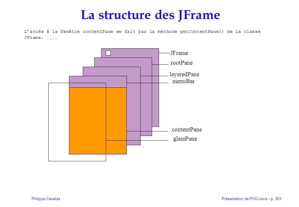 Présentation de POO-Java - p. 363Philippe Canalda La structure des JFrame Laccès à la fenêtre contentPane se fait par la méthode getContentPane() de l