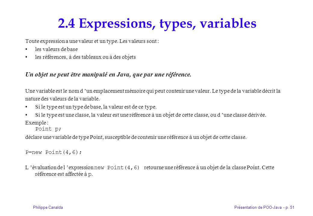 Présentation de POO-Java - p. 51Philippe Canalda 2.4 Expressions, types, variables Toute expression a une valeur et un type. Les valeurs sont : les va