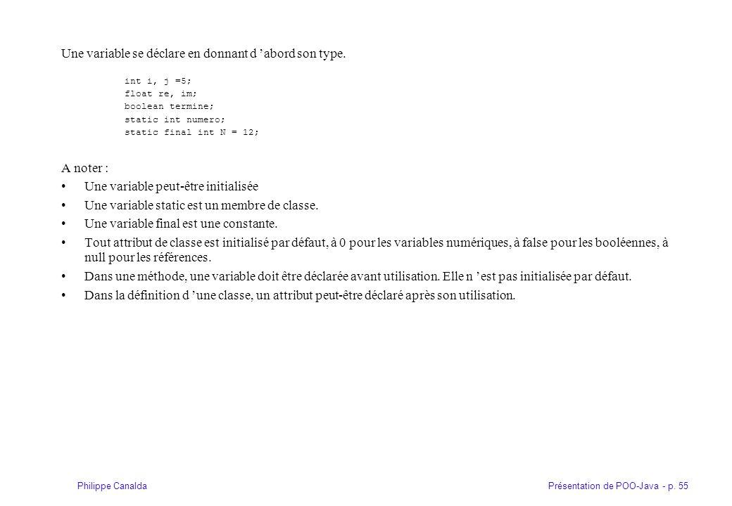 Présentation de POO-Java - p. 55Philippe Canalda Une variable se déclare en donnant d abord son type. int i, j =5; float re, im; boolean termine; stat