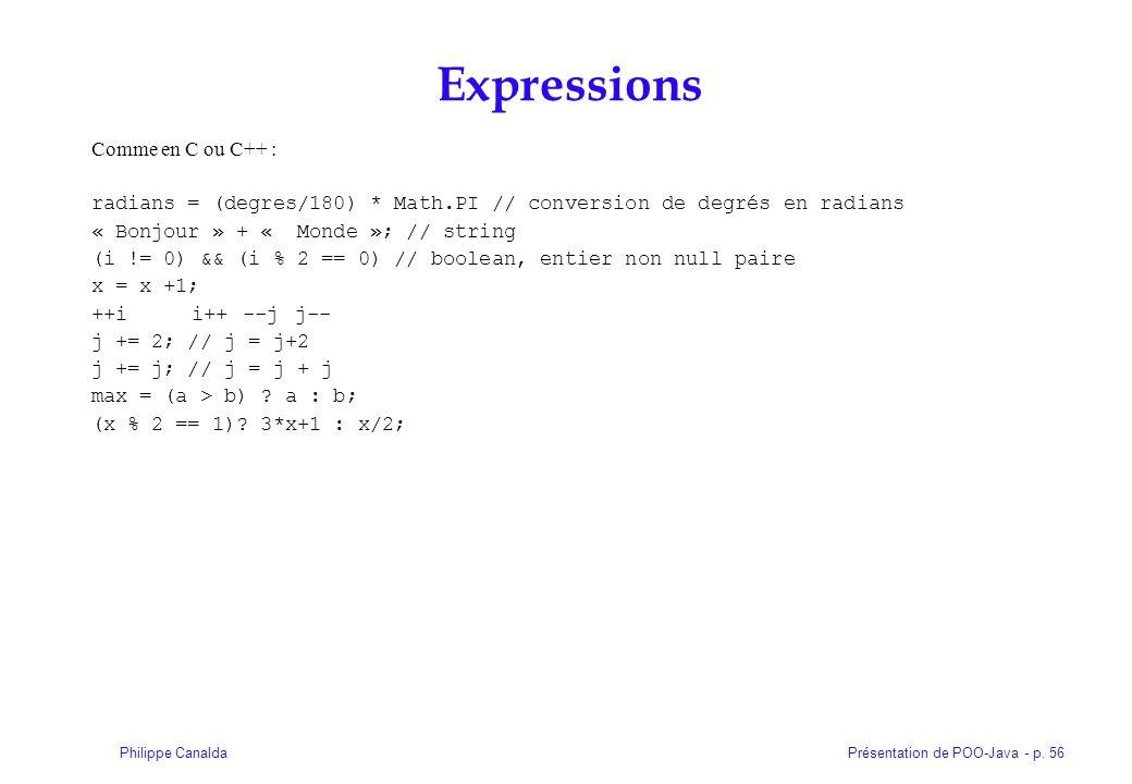 Présentation de POO-Java - p. 56Philippe Canalda Expressions Comme en C ou C++ : radians = (degres/180) * Math.PI // conversion de degrés en radians «