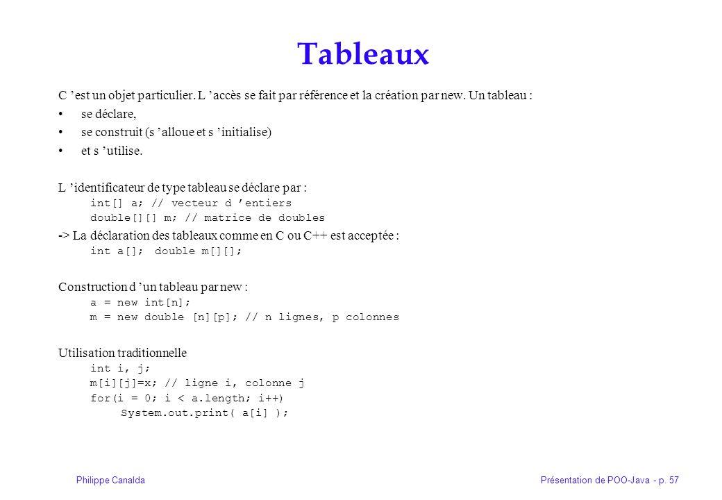 Présentation de POO-Java - p. 57Philippe Canalda Tableaux C est un objet particulier. L accès se fait par référence et la création par new. Un tableau