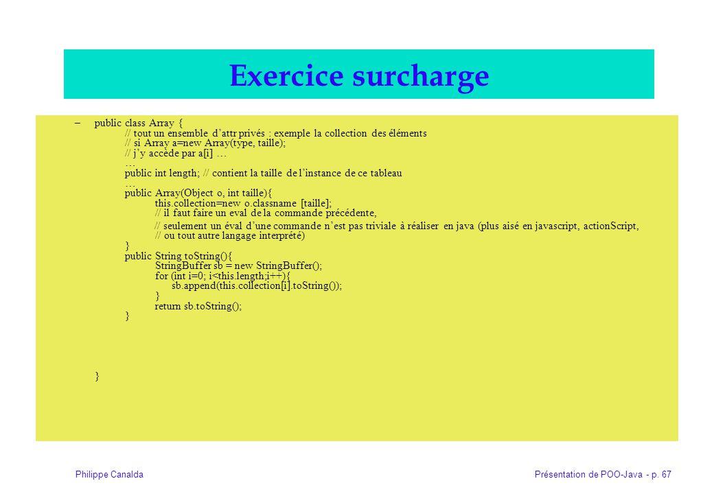 Présentation de POO-Java - p. 67Philippe Canalda Exercice surcharge –public class Array { // tout un ensemble dattr privés : exemple la collection des