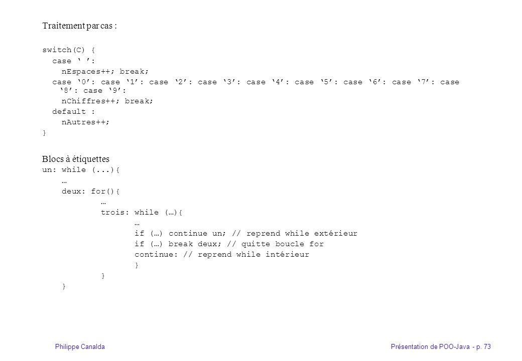Présentation de POO-Java - p. 73Philippe Canalda Traitement par cas : switch(C) { case : nEspaces++; break; case 0: case 1: case 2: case 3: case 4: ca