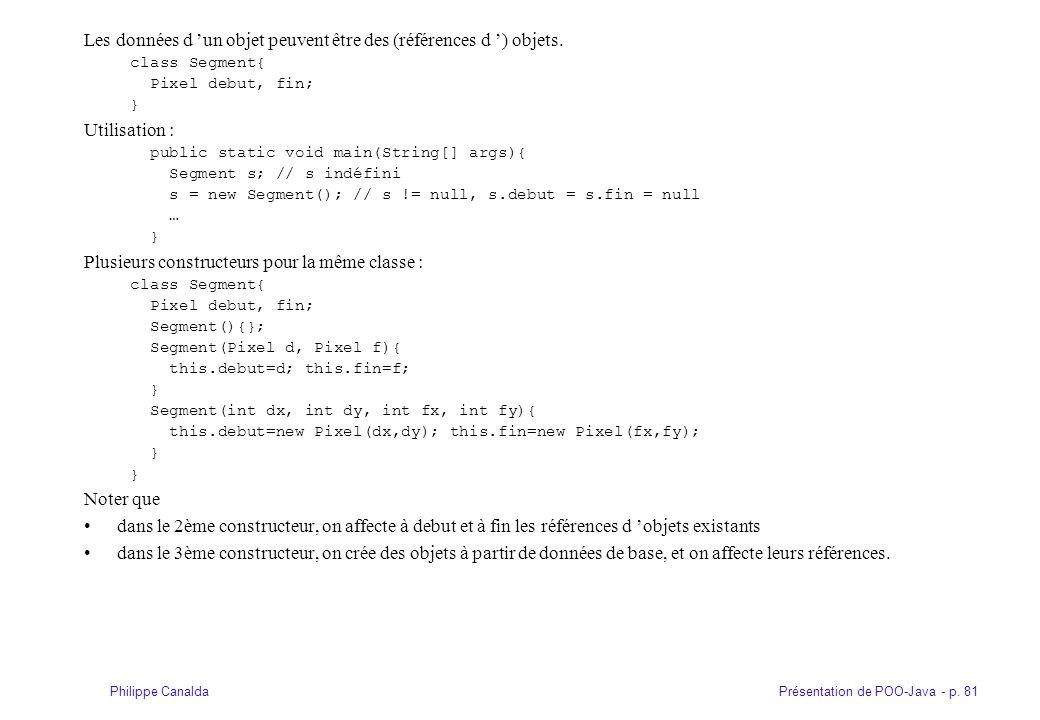 Présentation de POO-Java - p. 81Philippe Canalda Les données d un objet peuvent être des (références d ) objets. class Segment{ Pixel debut, fin; } Ut