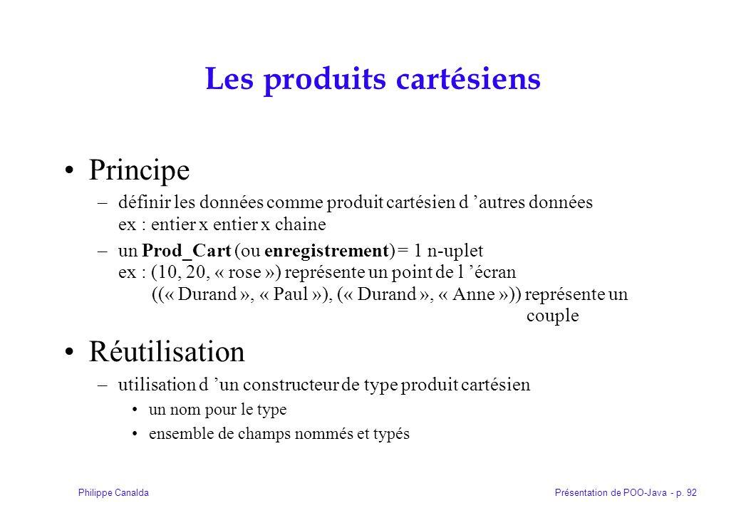 Présentation de POO-Java - p. 92Philippe Canalda Les produits cartésiens Principe –définir les données comme produit cartésien d autres données ex : e